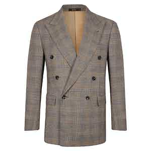 Grey and Yellow Check Wool Double Breasted Suit