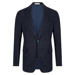 Navy Wool Chalkstripe Single Breasted Suit