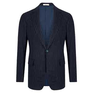 Navy Wool Chalkstripe Single Breasted Suit