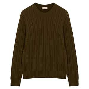 Dark Green Braid Round Neck Wool Jumper