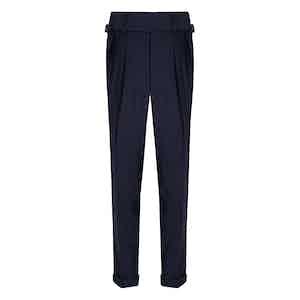 Navy VBC Wool POW check Suit Trousers
