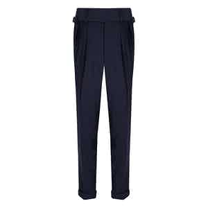 Navy VBC Wool POW check Suit Trousers