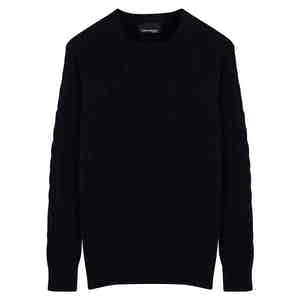 Dark Navy Cashmere Cable Knit Jumper