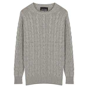 Grey Cashmere Cable Knit Jumper