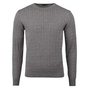Grey Melange Cable Crew Neck Jumper