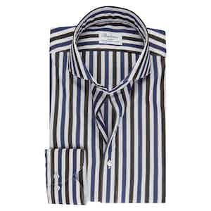 Blue and Brown Striped Luxury Poplin Slim Fit Shirt