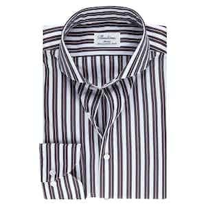 White and Brown Poplin Slim Fit Shirt