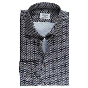 Micro Patterned Cotton Fitted Body Shirt