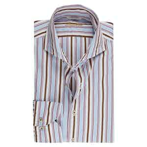 Multicolor Striped Cotton Casual Fitted Body Shirt