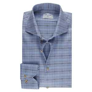 Blue Checked Cotton Slim Fit Shirt