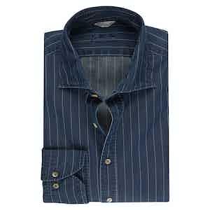 Striped Denim Slim Fit Shirt