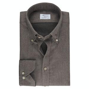 Brown Flannel Slim Fit Shirt