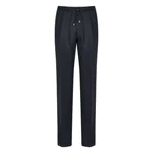Navy Wool Pleated Drawstring Trousers