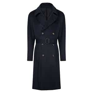 Navy Wool and Cashmere Double-Breasted Overcoat