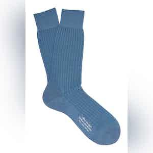 Fair White Mid-Calf Merino Wool Ribbed Socks
