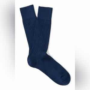 Night Blue Mid-Calf Merino Wool Ribbed Socks