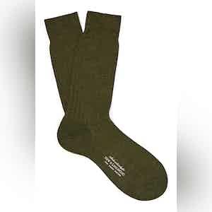Fonce Olive Mid-Calf Merino Wool Ribbed Socks