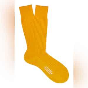 Golden Mid-Calf Merino Wool Ribbed Socks
