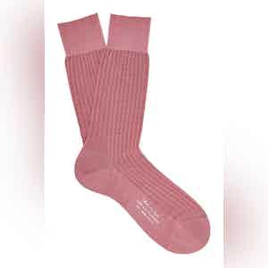 Powder Pink Mid-Calf Merino Wool Ribbed Socks
