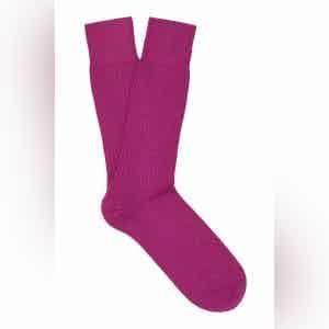 Hot Pink Mid-Calf Merino Wool Ribbed Socks