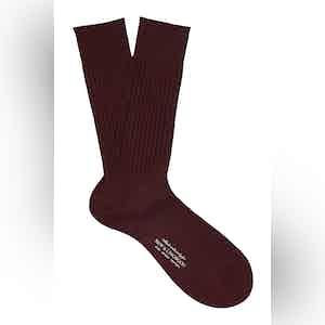 Red Wine Mid-Calf Merino Wool Ribbed Socks
