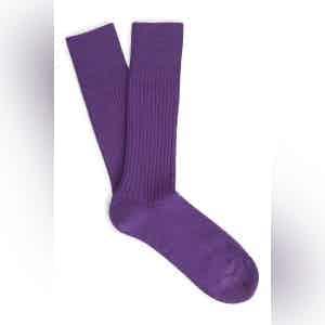 Violet Mid-Calf Merino Wool Ribbed Socks