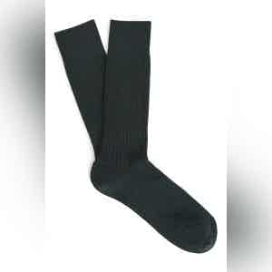 English Green Mid-Calf Merino Wool Ribbed Socks