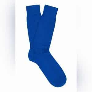 Vivid Blue Mid-Calf Merino Wool Ribbed Socks