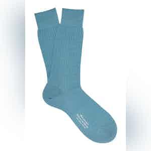 Powder Blue Mid-Calf Merino Wool Ribbed Socks