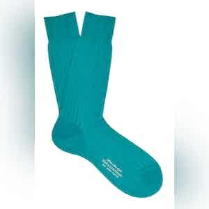 Country Blue Mid-Calf Merino Wool Ribbed Socks