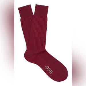 Dark Red Mid-Calf Merino Wool Ribbed Socks
