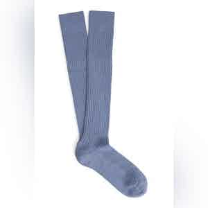 Airforce Blue Long Merino Wool Ribbed Socks