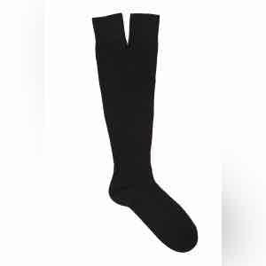 Ink Black Long Merino Wool Ribbed Socks