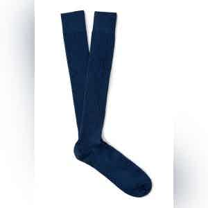 Night Blue Long Merino Wool Ribbed Socks