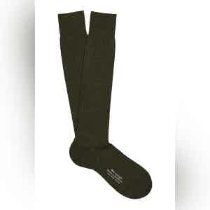 Fonce Olive Long Merino Wool Ribbed Socks