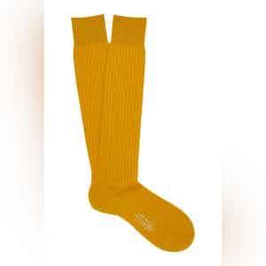 Golden Long Merino Wool Ribbed Socks