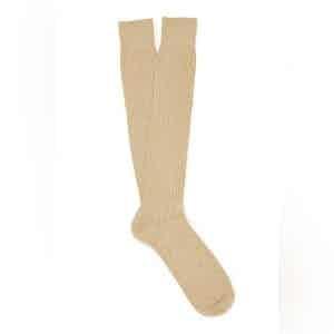 Light Khaki Long Merino Wool Ribbed Socks