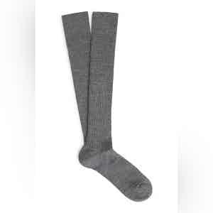 Steel Long Merino Wool Ribbed Socks