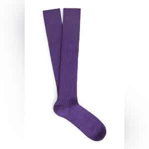 Violet Long Merino Wool Ribbed Socks