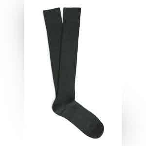 English Green Long Merino Wool Ribbed Socks