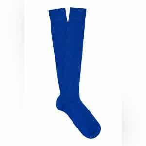 Vivid Blue Long Merino Wool Ribbed Socks