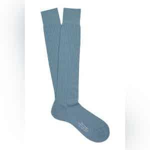 Powder Blue Long Merino Wool Ribbed Socks