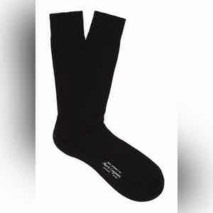 Ink Black Mid-Calf Cotton Ribbed Socks