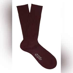 Dark Red Mid-Calf Cotton Ribbed Socks