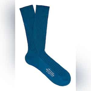 Night Blue Mid-Calf Cotton Ribbed Socks