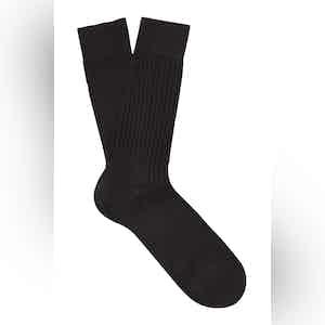 Coffee Brown Mid-Calf Cotton Ribbed Socks