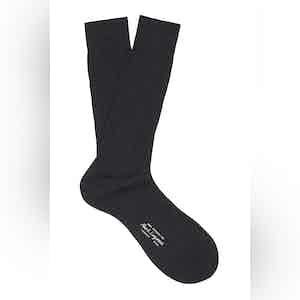 Charcoal Grey Mid-Calf Cotton Ribbed Socks