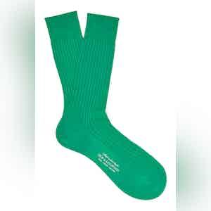 Vivid Green Mid-Calf Cotton Ribbed Socks