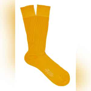 Golden Mid-Calf Cotton Ribbed Socks