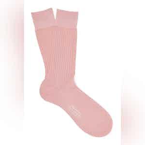 Powder Pink Mid-Calf Cotton Ribbed Socks